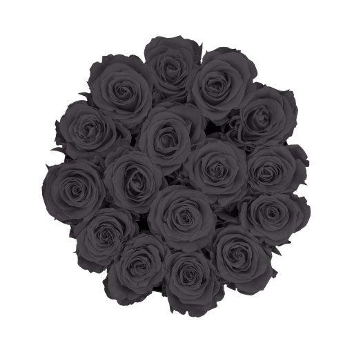 Große runde Rosenbox in schwarz mit schwarzen Infinityrosen von oben