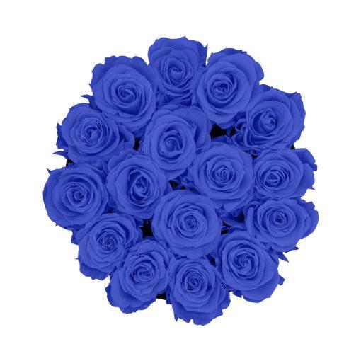 Große runde Rosenbox in schwarz mit blauen Infinityrosen von oben
