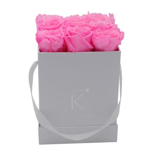 Rosenbox in Square mit Hot Pinke Rosen