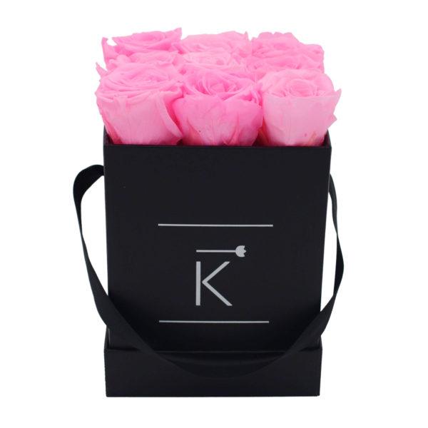 Rosenbox in Square mit Hot Pink Rosen
