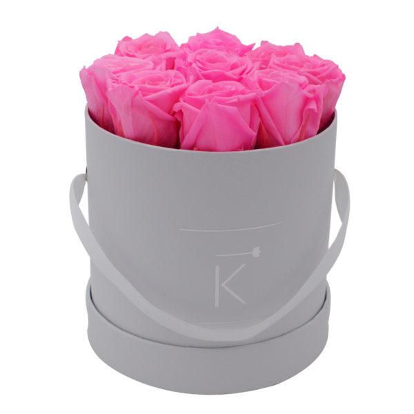 Rosenbox in Round mit Hot Pink Rosen