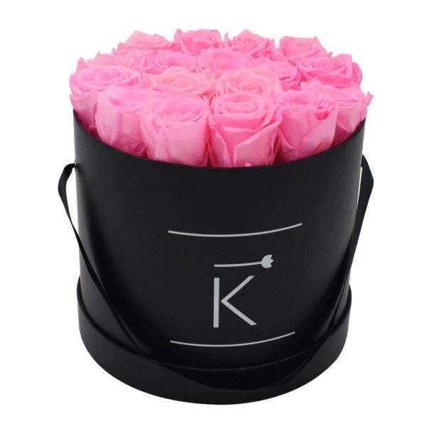 Rosenbox in Round mit Hot Pinke Rosen