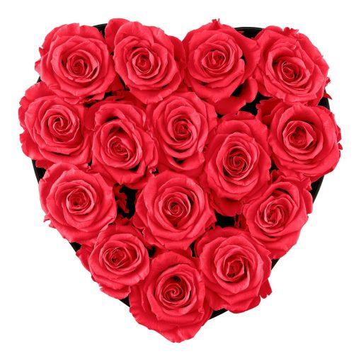 Herzförmige Rosenbox mit peach pinken Infinityrosen von oben