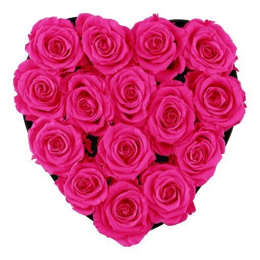 Herzförmige Rosenbox mit purple pinken Infinityrosen von oben