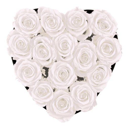 Herzförmige Rosenbox mit weißen Infinityrosen von oben