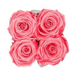 Eckige Rosenbox in schwarz weiß mit rosanen Infinityrosen von oben