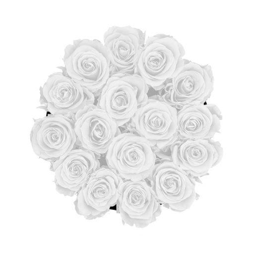 Große runde Rosenbox in schwarz mit weißen Infinityrosen von oben