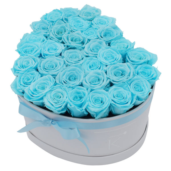 Rosenbox in Herzform mit Babyblue Rosen