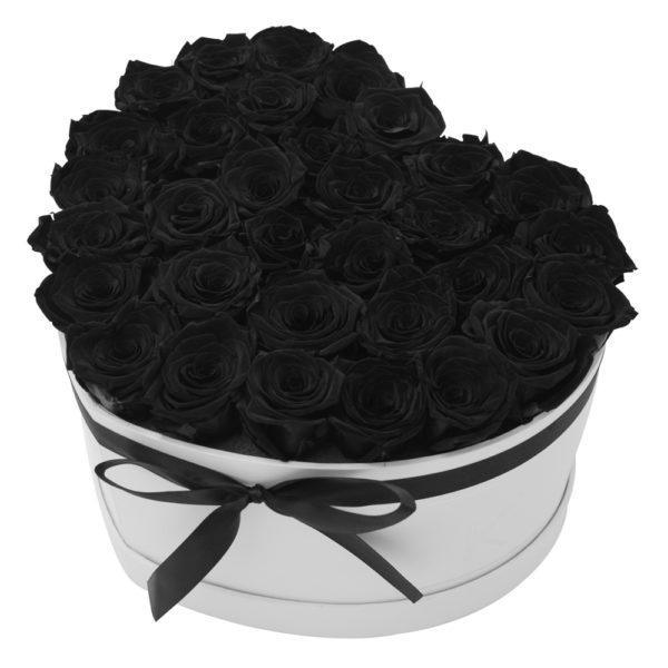 Rosenbox in Herzform mit Schwarze Rosen
