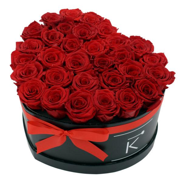 Rosenbox in Herzform mit Rote Rosen