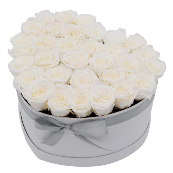 Rosenbox in Herzform mit Weiße Rosen