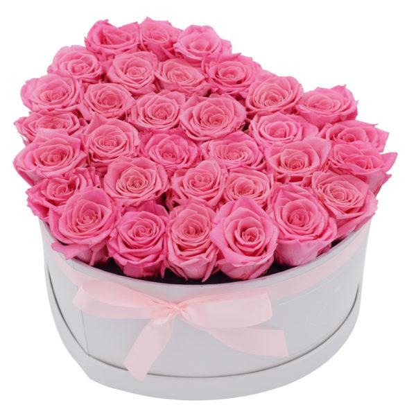 Rosenbox in Herzform mit Pinke Rosen