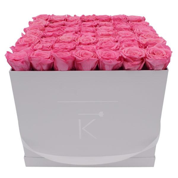 Rosenbox in Square mit Pink Rosen