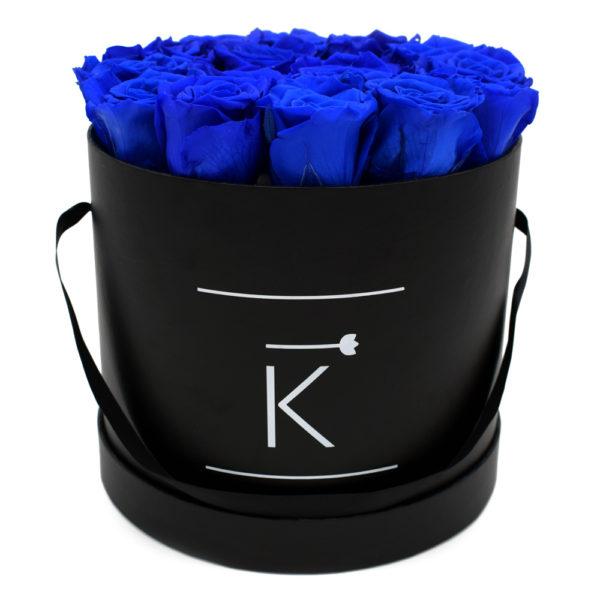 Rosenbox in Round mit Blaue Rosen