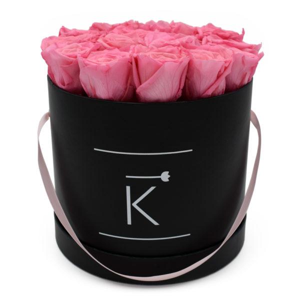 Rosenbox in Round mit Pinke Rosen