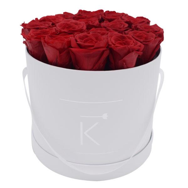 Rosenbox in Round mit Rote Rosen