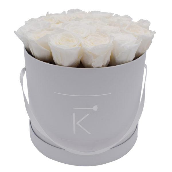 Rosenbox in Round mit Weiße Rosen