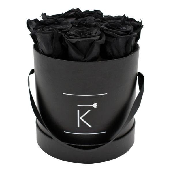 Rosenbox in Round mit Black Rosen