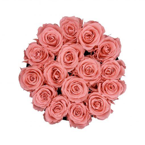 Große runde Rosenbox in schwarz mit pinken Infinityrosen von oben