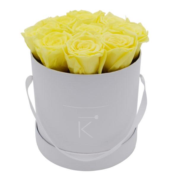 Rosenbox in Round mit Gelbe Rosen
