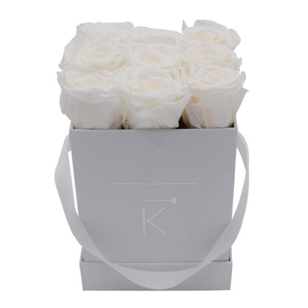 Rosenbox in Square mit Weiße Rosen
