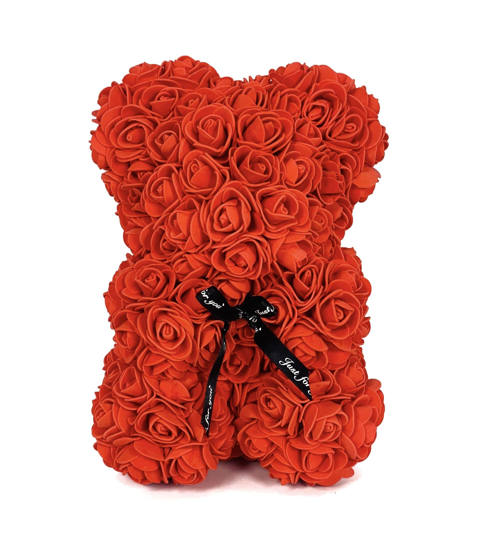 Teddy aus roten Infinityrosen mit schwarzer Schleife