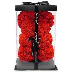 Rosenteddy aus roten Infinityrosen mit schwarzer Schleife
