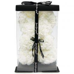 Rosenteddy aus weißen Infinityrosen mit schwarzer Schleife