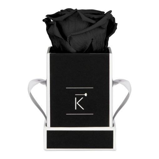 Kleine Rosenbox in schwarz weiß mit schwarzer Infinityrose