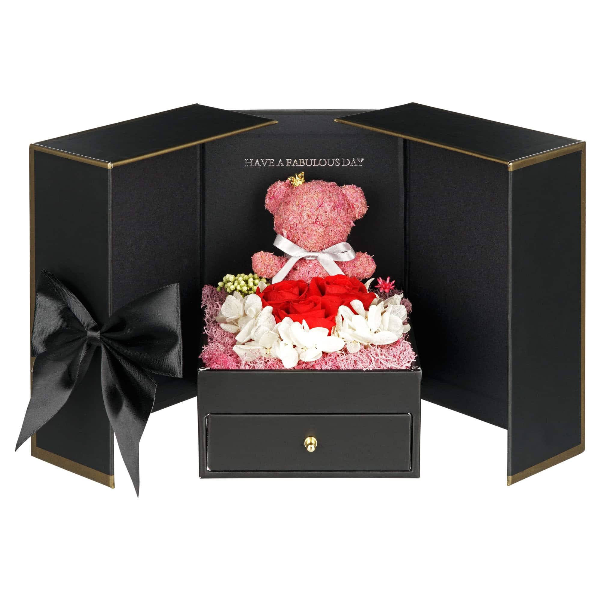 Schwarze Geschenkbox Teddy mit Infinityrosen in rot