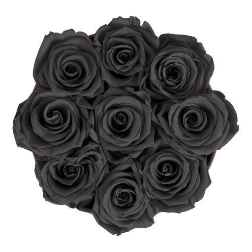 Runde Rosenbox aus hellgrauem Samt mit schwarzen Infinityrosen von oben