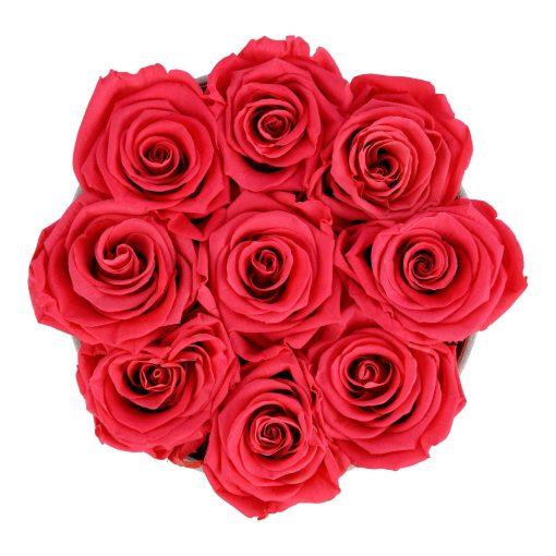 Runde Rosenbox aus hellgrauem Samt mit peach pinken Infinityrosen von oben