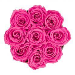 Runde Rosenbox aus hellgrauem Samt mit purple pinken Infinityrosen von oben