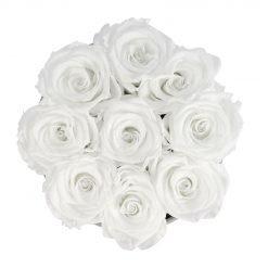 Runde Rosenbox aus hellgrauem Samt mit weißen Infinityrosen von oben