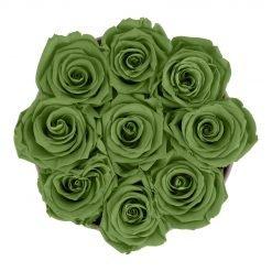 Runde Rosenbox aus hellgrauem Samt mit grünen Infinityrosen von oben