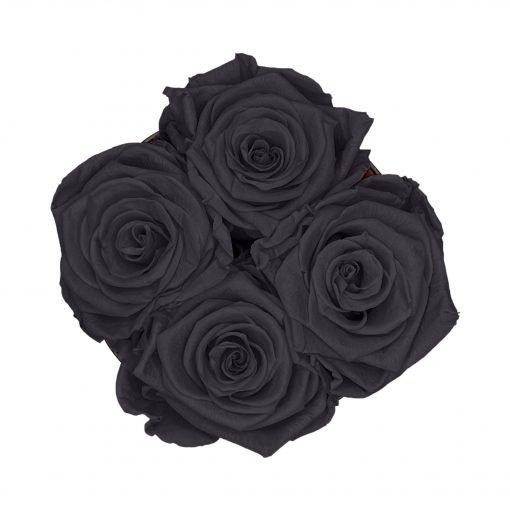 Kleine Rosenbox mit vier Infinityrosen in schwarz von oben