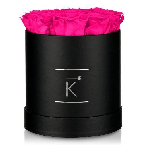 Kleine runde Rosenbox in schwarz mit lila pinken Infinityrosen