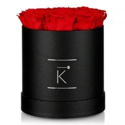 Runde Rosenbox in schwarz mit roten Infinityrosen