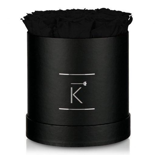 Kleine runde Rosenbox in schwarz mit schwarzen Infinityrosen
