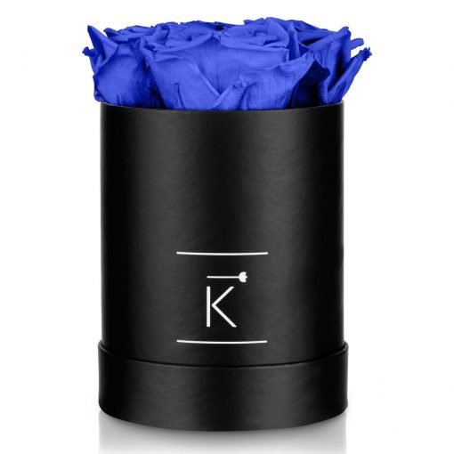 Kleine runde Rosenbox in schwarz mit blauen Infinityrosen
