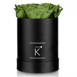 Kleine runde Rosenbox in schwarz mit grünen Infinityrosen