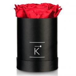 Kleine runde Rosenbox in schwarz mit roten Infinityrosen
