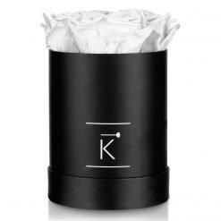 Kleine runde Rosenbox in schwarz mit weißen Infinityrosen