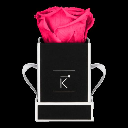 Kleine eckige Rosenbox schwarz weiß mit pinker Infinityrose