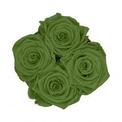 Kleine Rosenbox mit vier Infinityrosen in grün von oben