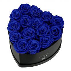 Rosenbox in Herzform mit blauen Infinityrosen