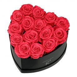 Rosenbox in Herzform mit peach pinken Infinityrosen