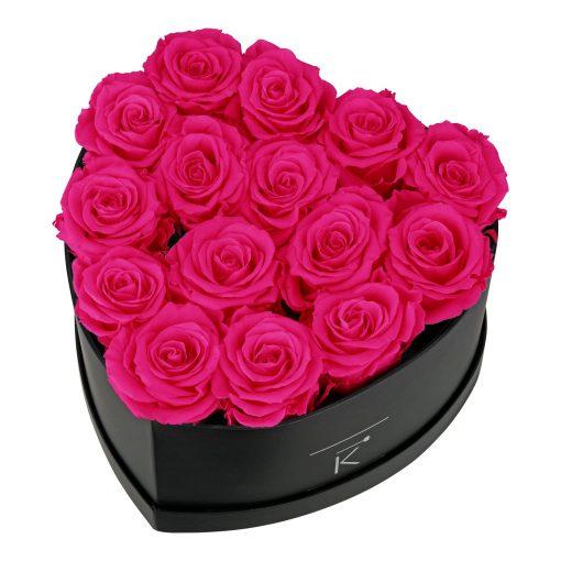 Rosenbox in Herzform mit purple pinken Infinityrosen