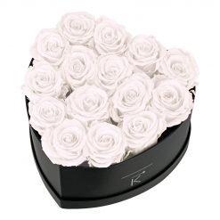 Rosenbox in Herzform mit weißen Infinityrosen