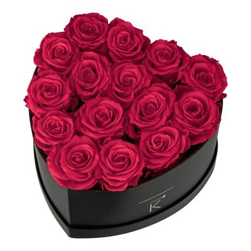 Rosenbox in Herzform mit dunkelroten Infinityrosen